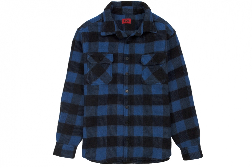 424-color-button-up-blue-black-plaid